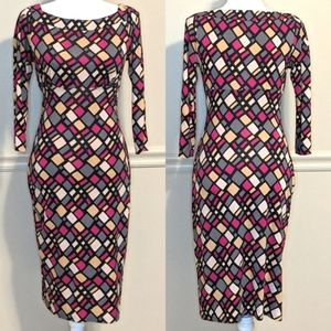 DVF Silk Multicolor Geometric Midi Dress Size 4